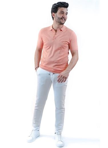 Boris Becker Kısa Kol Polo Yaka Palmiye Desen Mercan Erkek Tshirt Mercan